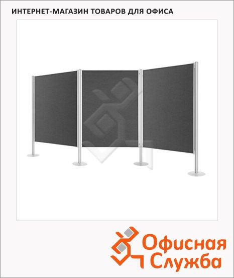 фото: Стенд презентационный Magnetoplan 120х150см серый, текстильный, 4 восьмигранные стойки