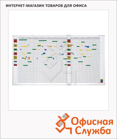 фото: Доска планирования Magnetoplan 3703255 150х45см белая, эмалевая, магнитная маркерная, алюминиевая рама, на неделю, на 30 сотрудников/ мероприятий, английский/ немецкий языки