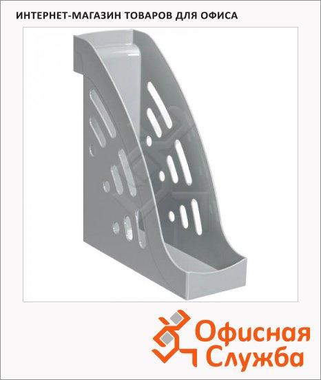 фото: Накопитель вертикальный для бумаг Стамм Торнадо А4 95мм, серый, ЛТ400