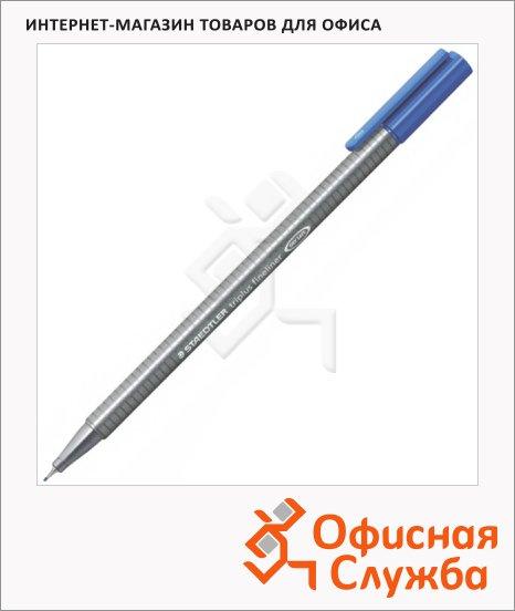 фото: Ручка капиллярная Staedtler Triplus Fineliner 334 синий ультрамарин 0.3мм, серебристый корпус