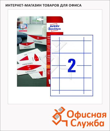 Настольные карточки Avery Zweckform L4795-20, белые с микроперфорацией, 180х60мм, 2шт на листе, 20 листов, 40шт, для всех видов печати