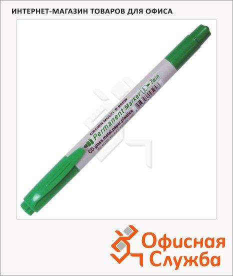 Маркер перманентный Crown P-800W зеленый, 4/2мм, пулевидный наконечник, двухсторонний