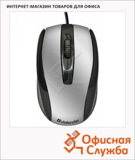 фото: Мышь проводная оптическая USB Defender Optimum MM-140 800dpi, серебристо-черная