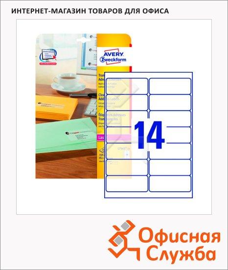 Этикетки адресные Avery Zweckform QuickPeel L7563-25, прозрачные, 99.1x38.1мм, 14шт на листе А4, 25 листов, 350шт, для цветной лазерной печати