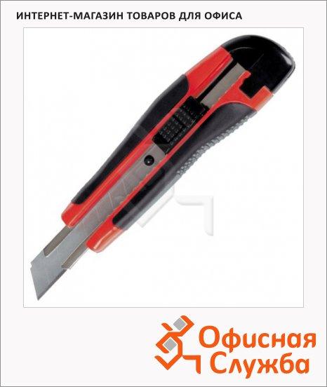 Нож канцелярский Berlingo Comfort 18мм, 2 сменных лезвия, черно-оранжевый