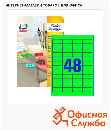 Этикетки удаляемые Avery Zweckform L6040-20, 48шт на листе А4, 20 листов, 960шт, для всех видов печати, зеленые, 45.7x21.2мм