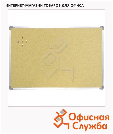фото: Доска пробковая Berlingo 60х90см коричневая, алюминиевая рама