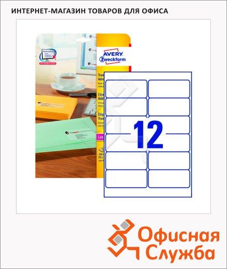 Этикетки адресные Avery Zweckform QuickPeel L4772-25, прозрачные, 99.1х42.3мм, 12шт на листе А4, 25 листов, 300шт, для копир/ цветной лазерной печати