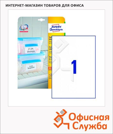 Этикетки морозостойкие Avery Zweckform L7972-25, белые, 210х297мм, 1шт на листе А4, 25 листов, 25шт, для всех видов печати