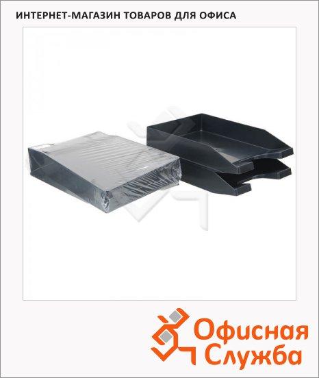 фото: Лоток горизонтальный для бумаг Стамм Стандарт А4 черный, 2шт/уп, ЛТ52