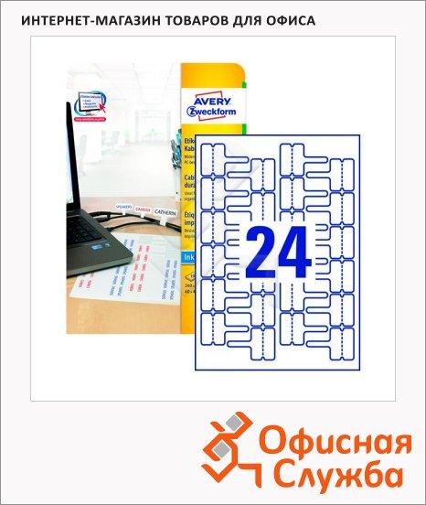 Этикетки для кабелей и проводов Avery Zweckform J8950-10, белые, 60х40мм, 24шт на листе А4, 10 листов, 240шт, для струйной печати