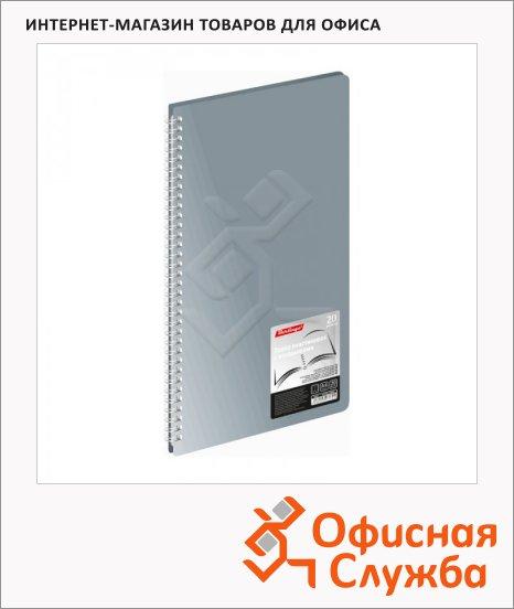 Папка файловая Berlingo Standard серая, А4, на 20 файлов, на гребне