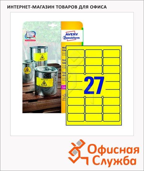 Этикетки всепогодные Avery Zweckform L6105-20, желтые, 63.5х29.6мм, 27шт на листе А4, 20 листов, 540шт, для копир/ лазерной печати