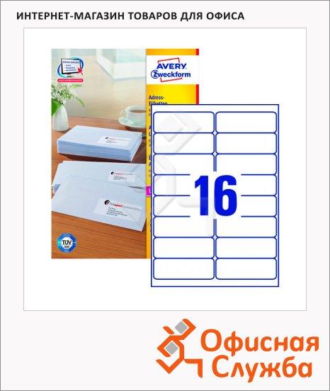 Этикетки адресные Avery Zweckform QuickPeel L7162-100, белые, 99.1 x 33.9мм, 16шт на листе А4, 100 листов, 1600шт, для всех видов печати