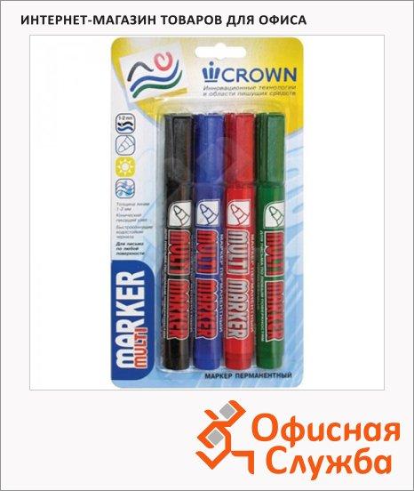 Маркер перманентный Crown Multi Marker набор 4 цвета, 3мм, пулевидный наконечник
