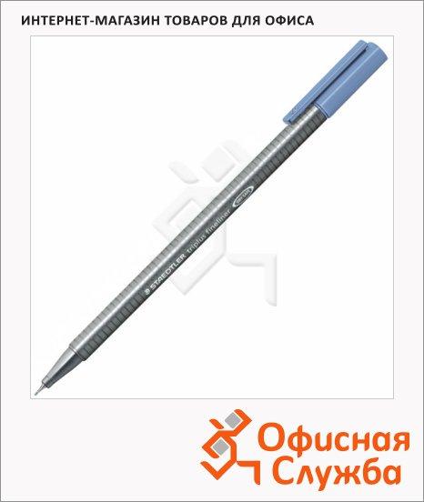 фото: Ручка капиллярная Staedtler Triplus Fineliner 334 синий фаянс 0.3мм, серебристый корпус