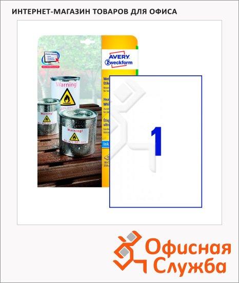 Этикетки всепогодные Avery Zweckform J4775-10, белые, 210х297мм, 1шт на листе А4, 10 листов, 10шт, для струйной печати