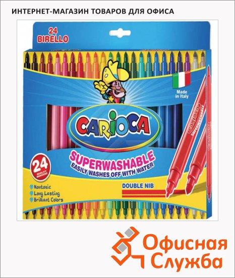 фото: Фломастеры для рисования Carioca Birello 24 цвета двухсторонние, смываемые