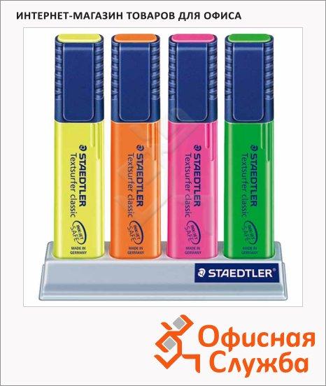 фото: Текстовыделитель Staedtler Textsurfer Classic набор 4 цвета, 1-5мм, скошенный наконечник, на подстав