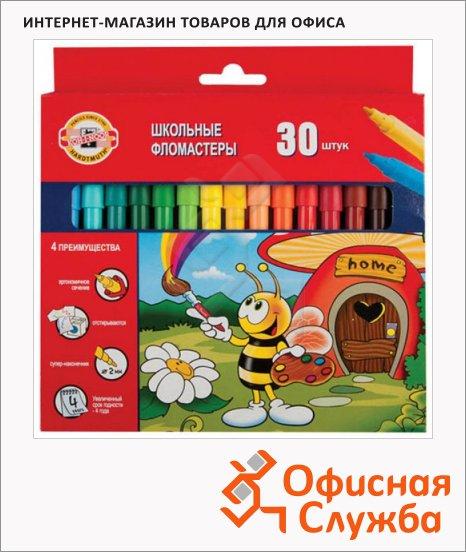 Фломастеры Koh-I-Noor Пчелка 30 цветов, трехгранные, смываемые
