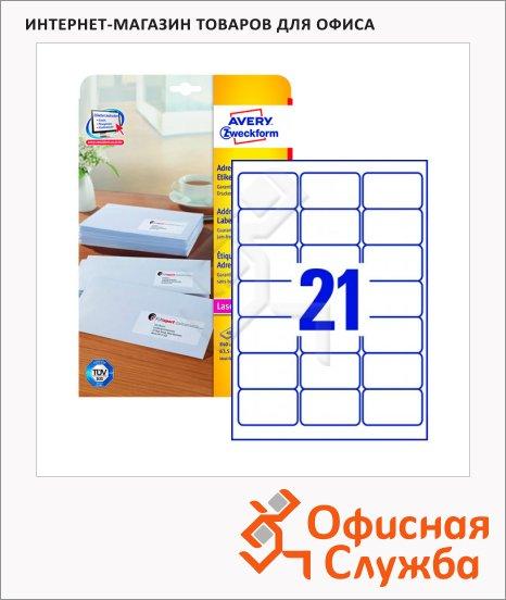 Этикетки адресные Avery Zweckform QuickPeel L7160-40, белые, 21шт на листе А4, 63.5 x 38.1мм, 40 листов, 840шт, для струйной печати
