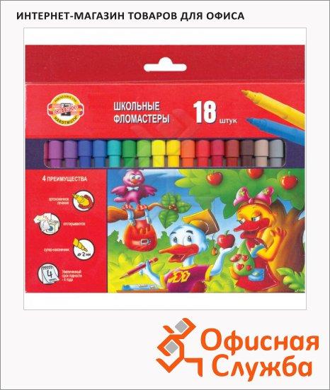 фото: Фломастеры для рисования Koh-I-Noor Утята 18 цветов трехгранные, смываемые