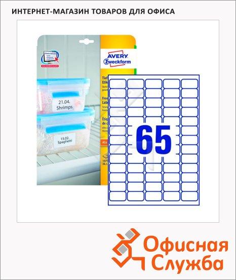 Этикетки морозостойкие Avery Zweckform L7971-25, белые, 38.1х21.2мм, 65шт на листе А4, 25 листов, 1625шт, для всех видов печати