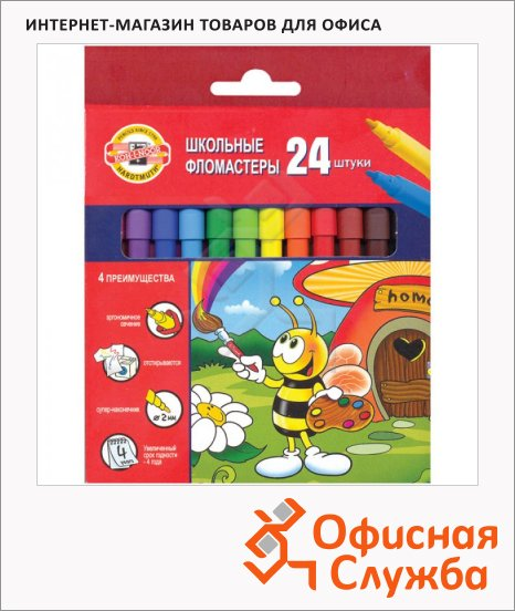 фото: Фломастеры для рисования Koh-I-Noor Пчелка 24 цвета трехгранные, смываемые