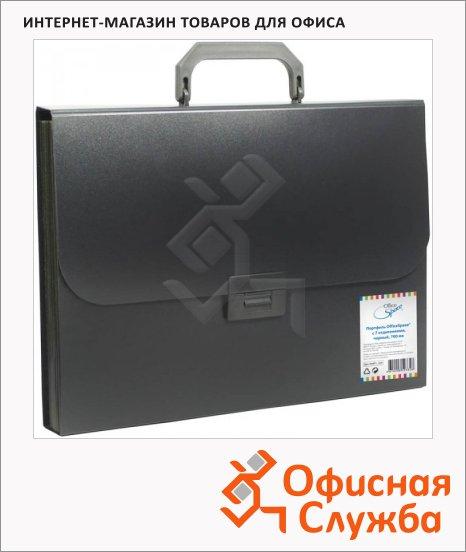Папка-портфель Office Space черная, 7 отделений