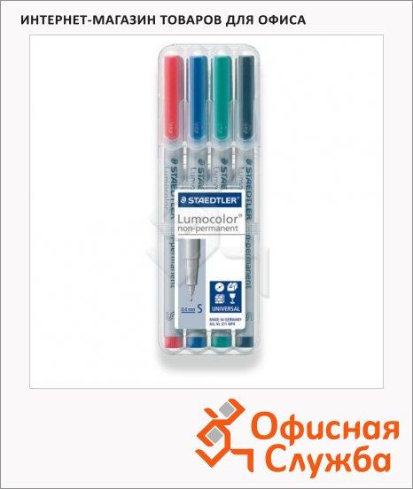 Маркер стираемый Staedtler Lumocolor набор 4 цвета, 0.4мм, круглый наконечник