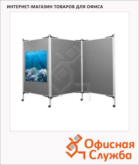 Стенд презентационный Magnetoplan 1101006, текстильный, 3штх120х150см, серый, мобильный