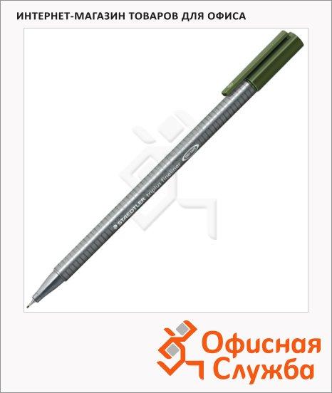 фото: Ручка капиллярная Staedtler Triplus Fineliner 334 зеленая земля 0.3мм, серебристый корпус