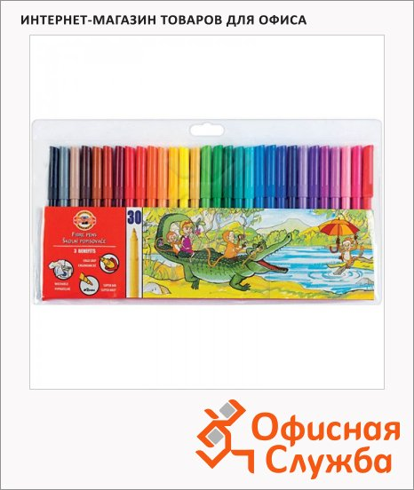 Фломастеры Koh-I-Noor Звери 30 цветов, трехгранные, смываемые