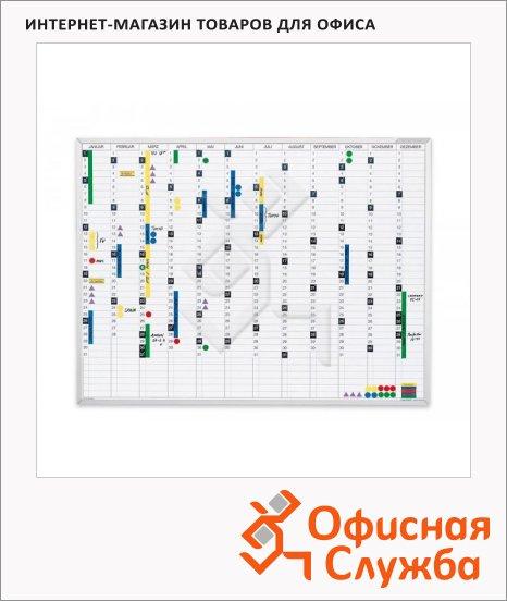 фото: Доска планирования Magnetoplan 1241212 R 120х90см белая, эмалевая, магнитная маркерная, системная рамка ferroscript, постоянный обзор года