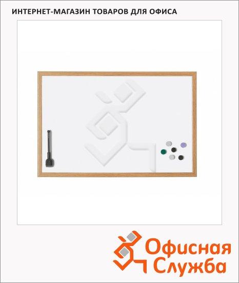 Доска магнитная маркерная Magnetoplan 121928 99х59см, белая, лаковая, деревянная рама