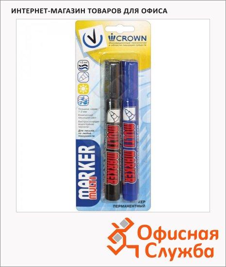Маркер перманентный Crown Multi Marker набор 2 цвета, 3мм, пулевидный наконечник