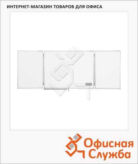 Доска магнитная маркерная Magnetoplan 1240303 150х100см, белая, эмалевая, двустворчатая, полочка, алюминиевая рама