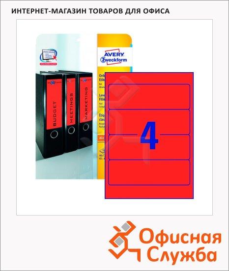 Этикетки для папок Avery Zweckform L4766-20, 4шт на листе А4, красные, 192x61мм, 20 листов, 80шт, для всех видов печати