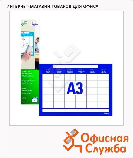 Этикетки-доски Avery Zweckform календарь 70707, голубые, 297x420мм, 1шт на листе А3, 3 листа, 3шт