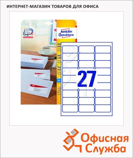 Этикетки адресные Avery Zweckform J4792-25, белые, 63.5x29.6мм, 27шт на листе А4, 25 листов, 675шт, для струйной печати