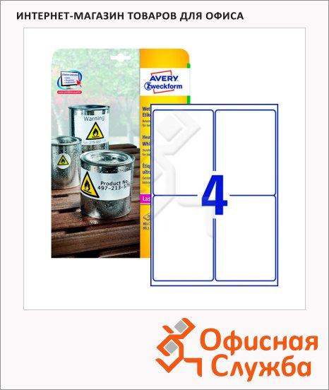 Этикетки всепогодные Avery Zweckform L4774-20, белые, 99.1x139мм, 4шт на листе А4, 20 листов, 80шт, для копир/ лазерной печати