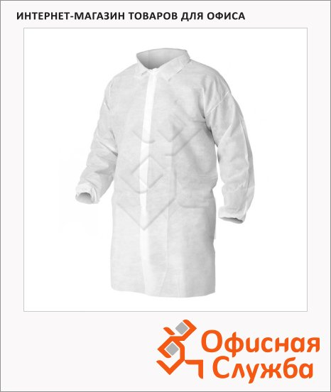 Халат для посетителей Kimberly-Clark Kleenguard A10 40102, белый, M