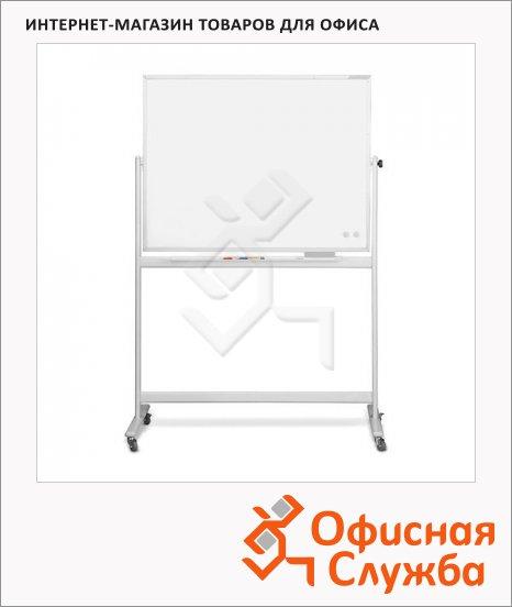 фото: Доска мобильная вращающаяся Magnetoplan CC 1240890 150х100см белая, эмалевая, магнитная маркерная, алюминиевая рама, на роликах