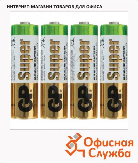 Батарейка Gp Super Alkaline AA/LR6, 1.5В, алкалиновые, 4шт/уп, эконом