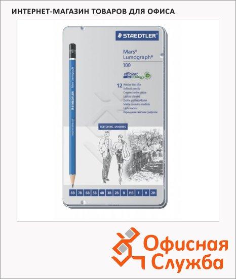 Набор чернографитных карандашей Staedtler Mars Lumograph 8B-H, 12шт, металлический пенал, 100G12S