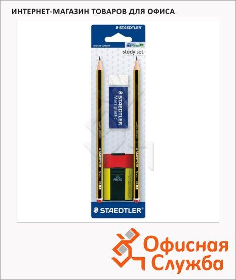 Набор чернографитных карандашей Staedtler Noris Club, HB х 2шт + 2 предмета, 120511BKD