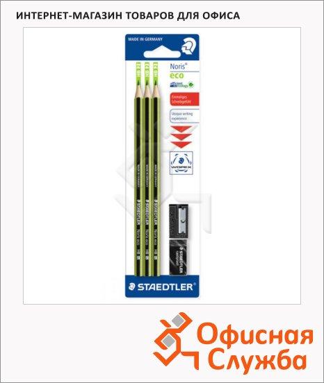 Набор чернографитных карандашей Staedtler Noris Eco HB х 1шт + 2 предмета, 18030SBK-1, с ластиком и точилкой