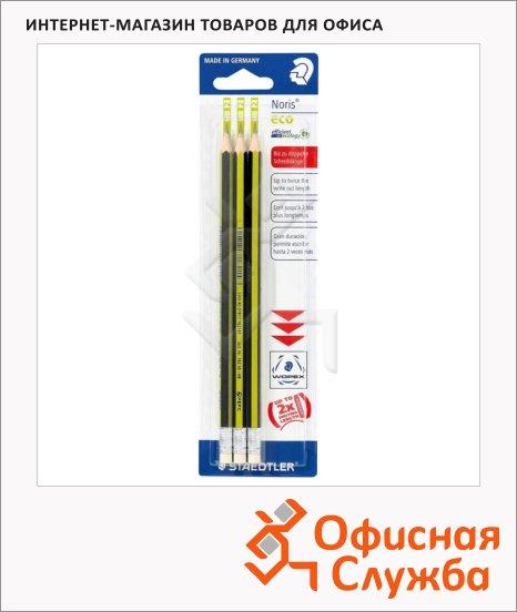 фото: Набор чернографитных карандашей Staedtler Noris Eco 180 HB с ластиком, 3 шт