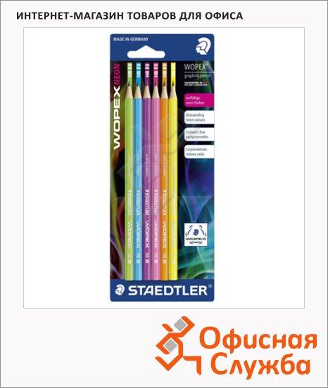 Набор чернографитных карандашей Staedtler Wopex Neon НВ, ассорти, 6шт, 180FBK6