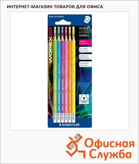 Набор чернографитных карандашей Staedtler Wopex Neon НВ, ассорти, 6шт, с ластиком, 182FBK6